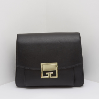 Handbag with Metal Accent and Crossbody Strap