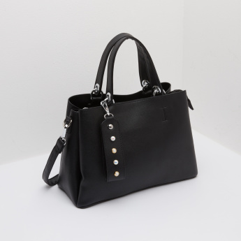 Textured Handbag with Twin Strap Handles and Embellished Tag