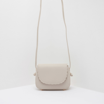 Textured Satchel Bag with Flap Closure