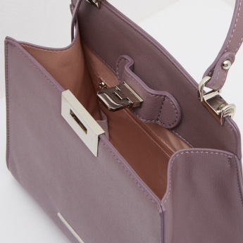 Plain Handbag with Detachable Sling Strap and Curved Handle