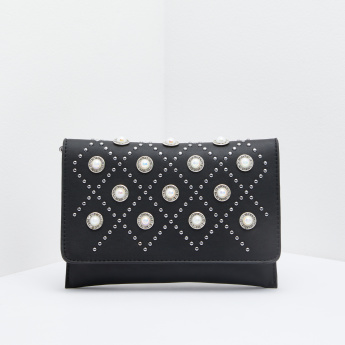 Studded and Pearl Detail Satchel Bag with Metallic Chain