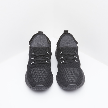 Textured Panelled Running Shoes with Lace-Up Closure
