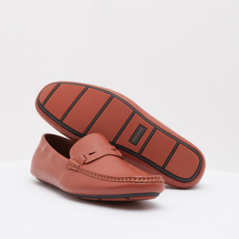 Textured Panelled Slip-On Loafers