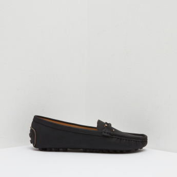 Moccasins with Stitch Detail and Slip On Closure