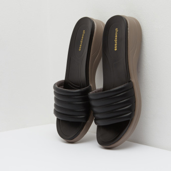 Textured Sandals with Stitch Detail