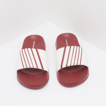 Striped Detail Slides with Slip-On Closure