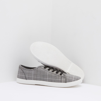Chequred Sneakers with Lace-Up Closure