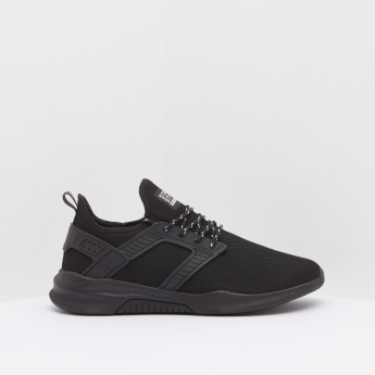 Textured Panelled Lace-Up Huarache Sneakers