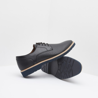 Lace-Up Derby Shoes with Perforation Detail