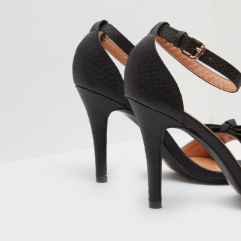 Ankle Strap Spool Heels with Buckle Closure and Bow Accent