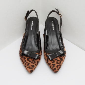 Animal Print Slingback Kitten Heels with Buckle Closure
