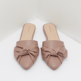 Slip-On Mules with Bow Accent