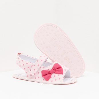 bbc97c4e2 Polka Dot Printed Sandals with Bow Detail and Hook and Loop Closure ...