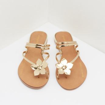 Flower Applique Detail Sandals with Stacked Heels and Toe Ring
